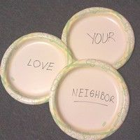 "This game idea also works for a Bible memory verse activity. Select a scripture memory verse and write each word on a single paper plate. For my example I am using Matthew 22:29 ""You shall love you..."