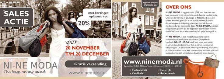 Flyer Nine Moda, It's all about the bags. http://creativeday.nl/graphic-design/ni-ne-moda