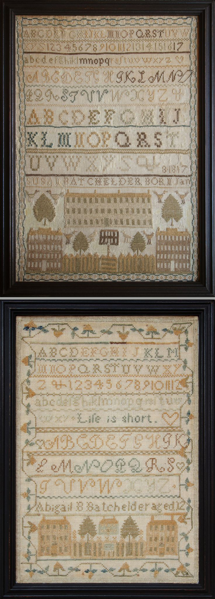 Pair of Batchelder Sister Samplers, Northwood, New Hampshire,circa 1830 and 1831