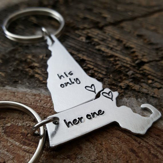 Custom State Keychain Her One His Only ANY 2 States hand stamped gift long distance relationship gif