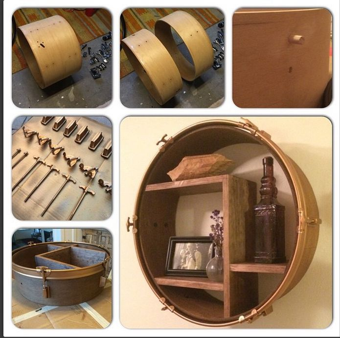 DIY Drum Shelf. Upcycle your old drum and turn it into a round shelf!