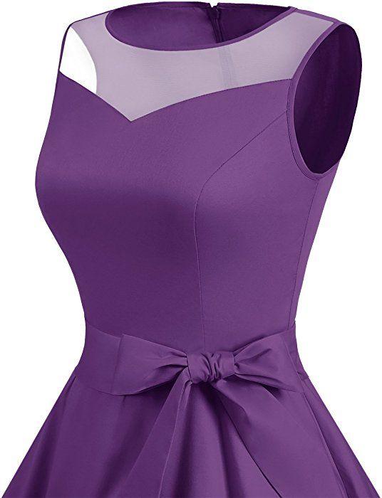 Dresstells Vintage 1950s Rockabilly Illusion Dress Retro Cocktail See Through Dress Purple 2XL: Amazon.co.uk: Clothing