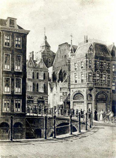 Gezicht op de Choorstraat te Utrecht vanaf de Lichte Gaard, uit het oosten, met op de voorgrond de Maartensbrug over de Oudegracht. Links het eerste huis aan de Lijnmarkt, rechts het hoekhuis aan de Zoutmarkt en op de achtergrond een gedeelte van de Buurkerk. Fotoreproductie gemaakt door P.T.A. Swillens naar een aquarel van J.P.C. Grolman uit 1899.