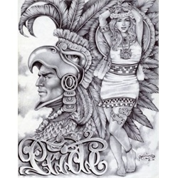 Aztec Pride by Mouse Lopez Lowbrow Artwork Canvas Art Print. Jaime Raul Lopez, known as Mouse Lopez, is a lifer inmate of Kern Valley State Prison in Delano, California. Unable to secure art supplies, Mouse began drawing on pillow cases and napkins using only a black or blue BIC pen. Finding freedom only in his art, Mouses work is a testament to the power of the mind which transports him to a place of beauty and creativity. tattoo-art