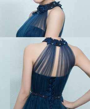 Blue tulle bridesmaid dress