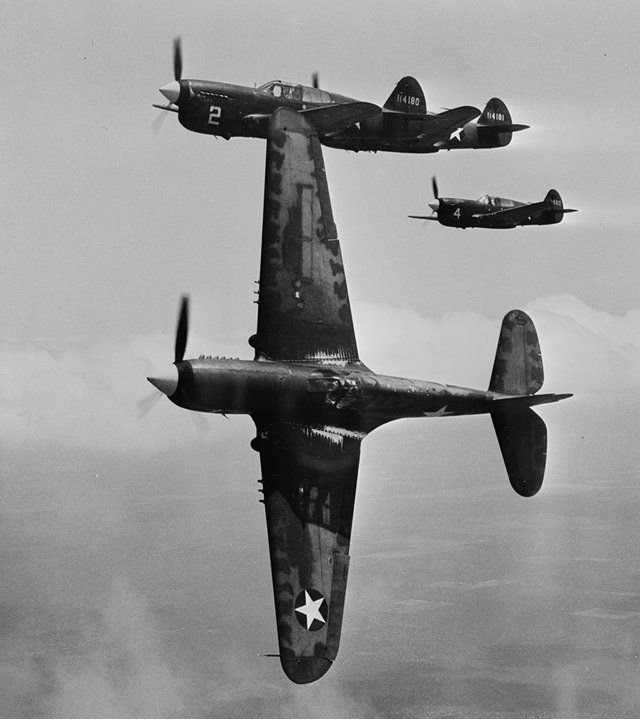 P-40F Warhawk fighters on a training flight over Texas