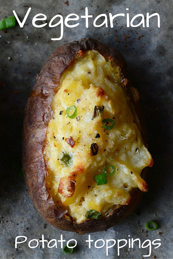 There's more available to a vegetarian for their potatoes than just cheese and beans. In fact, a whole host of delicious toppings are out there that work perfectly atop a baked potato.  Here are 14 to whet your appetite.