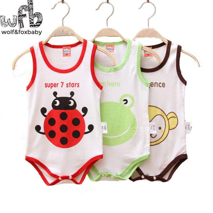 Retail 0-3years 3 patterns sleeveless Baby boys girls bodysuits cartoon vest underwaist kids Infant jumpsuits Clothing summer