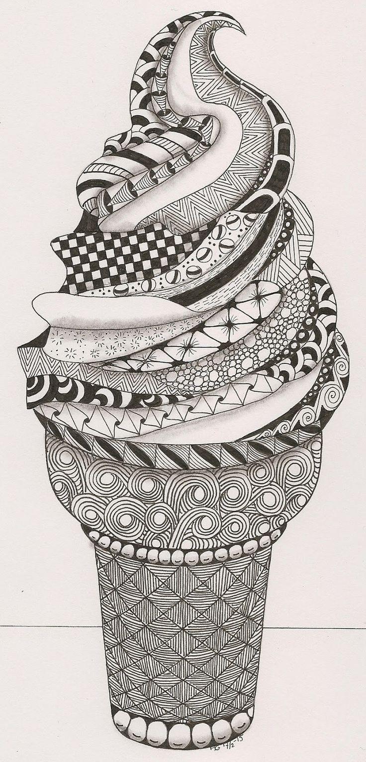 zentangle image of an ice cream cone