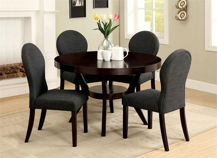 48 Dixon Round Deep Espresso Dining Table Set