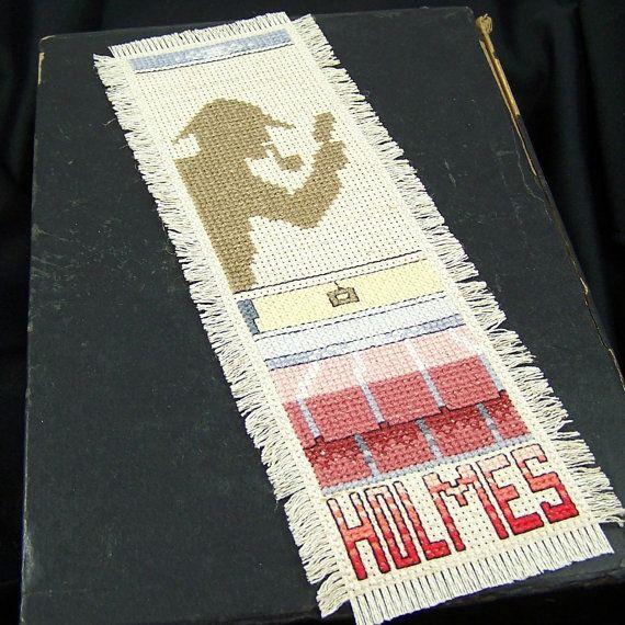 Sherlock Holmes Cross Stitched Bookmark