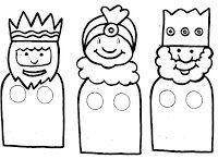 Títeres de dedos para colorear: Los reyes magos