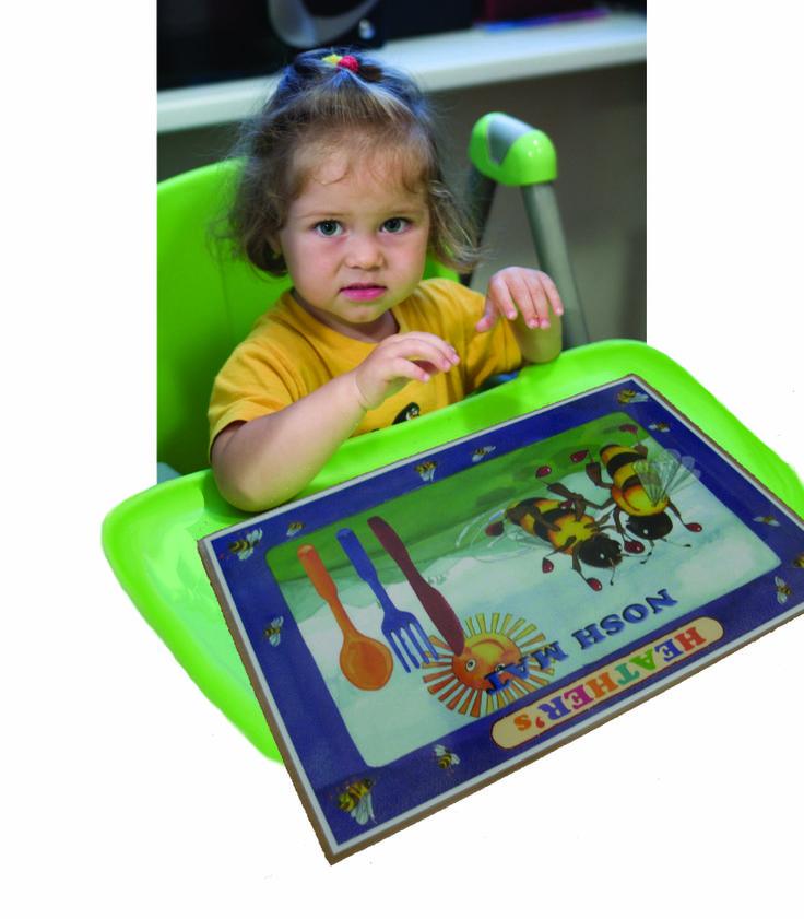 "Personalized place mat: ""Bee Magic"" Nosh Mat. Visit our Etsy Store: www.etsy.com/shop/KidsinBooks"