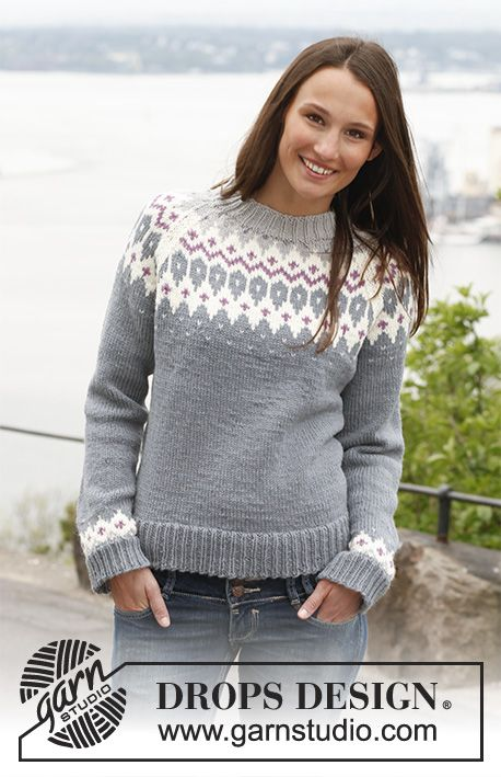 Diamond Rose / DROPS 141-41 - Knitted DROPS jumper with raglan and pattern in Lima. Size: S - XXXL.