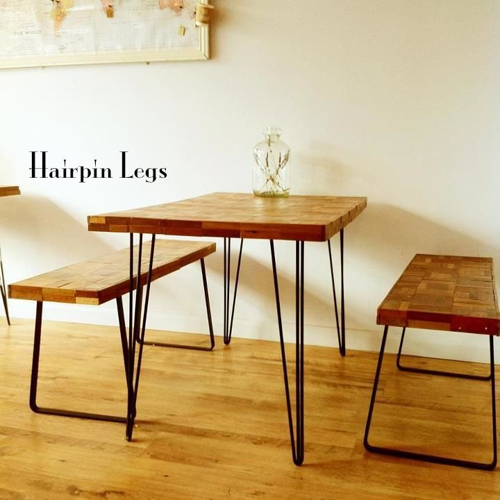 Get An Old Vintage Table Top And Add Hairpin Legs