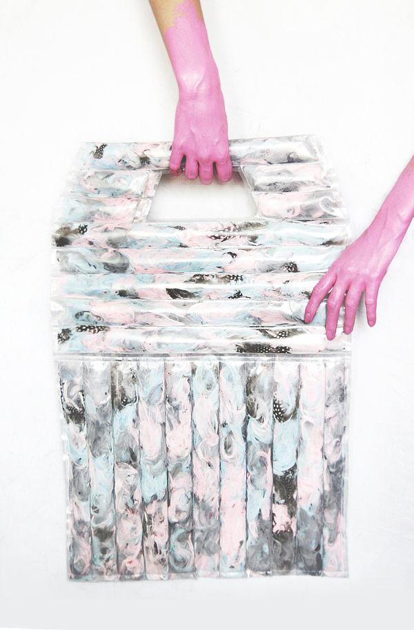 #KOPI maxi bag #plastic #feathers  https://www.facebook.com/KOPIszka