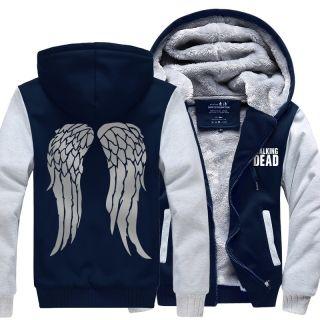 The Walking Dead thick fleece hoodie for winter Daryl Dixon angel wings hooded sweatshirt