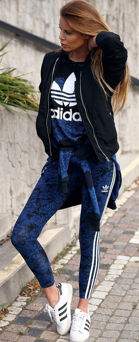 Josefin Alkstroms Blue Floral Adidas Set Workout Fall Inspo