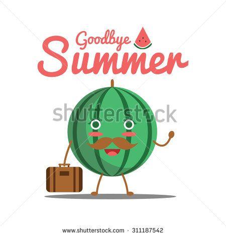 Vector illustration of watermelon say goodbye summer - stock vector