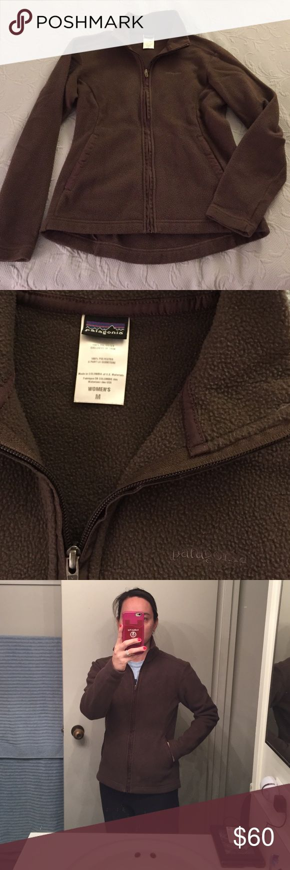 Dark brown Patagonia fleece jacket So soft and warm, this fleece jacket will last you many years. Ladies size Medium. Purchased from the Patagonia store a few years ago. Two slit pockets. High neck when fully zipped. Patagonia Jackets & Coats