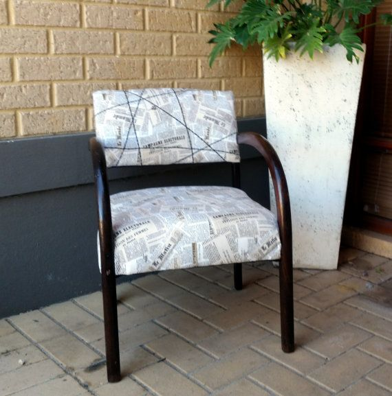 Mid-century art-déco bridge chair, recovered
