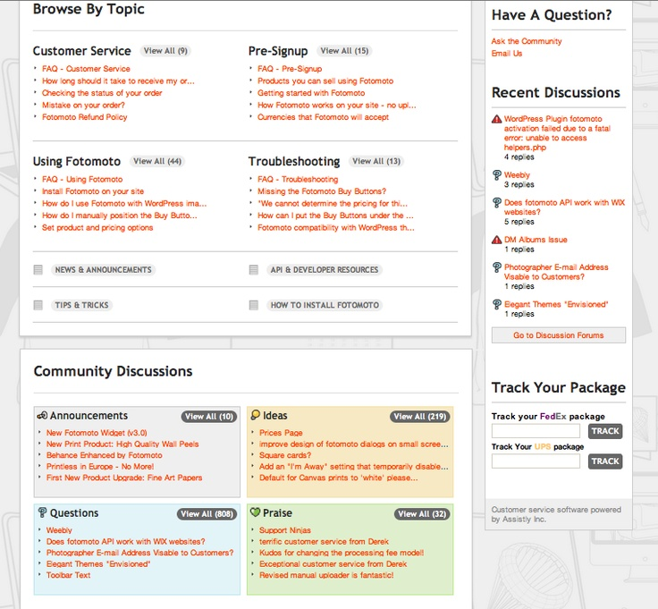 Fotomoto uses the Get Sat + Desk.com integration to provide their customers with an FAQ + community content on one slick page