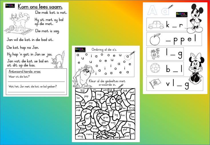 a - woorde werkkaart, Grondslagfase. Aflaaibare, volledige dokument beskikbaar op Teacha.  https://teachingresources.co.za/vendors/komma-leer-en-leessentrum/