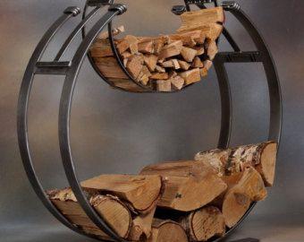 metal firewood/kindling log holder/basket contemporary design
