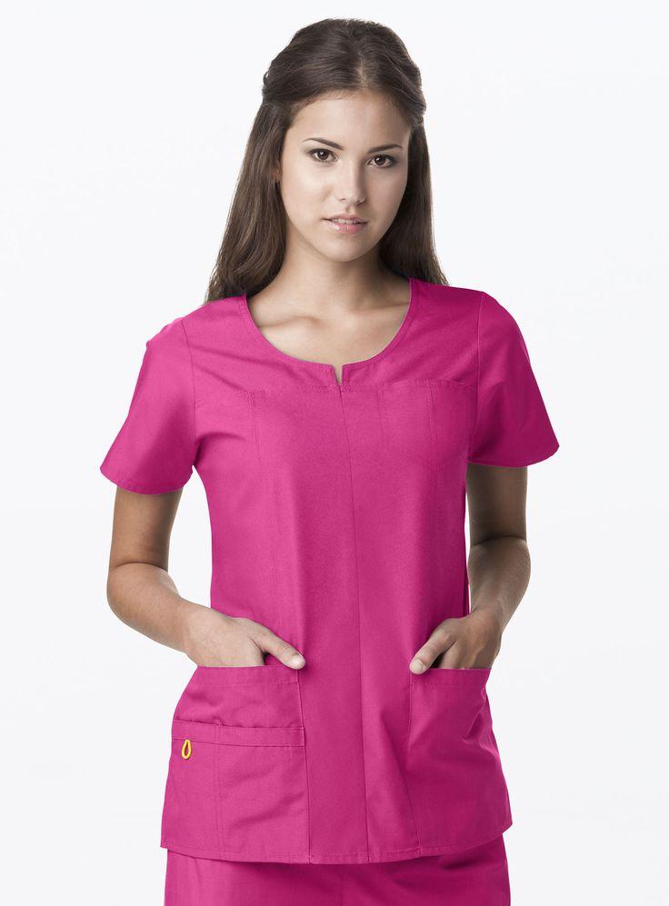 Hot Pink, Round Neck Chest Pkt Top | #medical #fashion | #pink #style | #nurse #scrubs