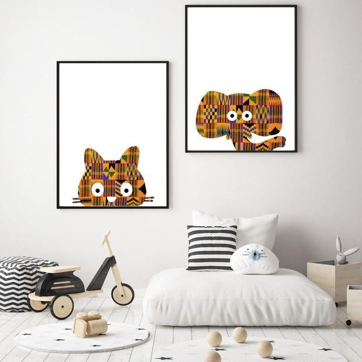 Kente Cat Nursery Wall Art African
