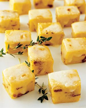 Polenta squares with prosciutto and Taleggio cheese can be made in advance and broiled just before serving.