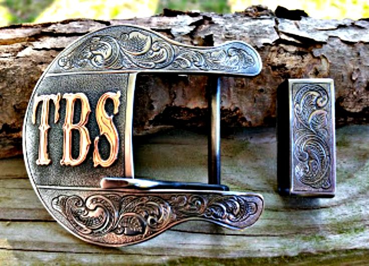 Shape 1, The Pecos custom belt buckle, personalized with copper initials, plain jane style (no metal overlay on sides).