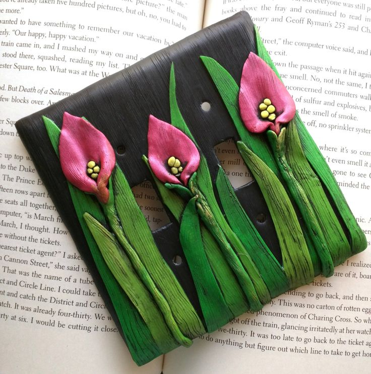 Pink Calla Lily Switchplate #1; Double Light Switch Cover, Polymer Clay Switch Plate by EmilyMah on Etsy https://www.etsy.com/listing/270860688/pink-calla-lily-switchplate-1-double
