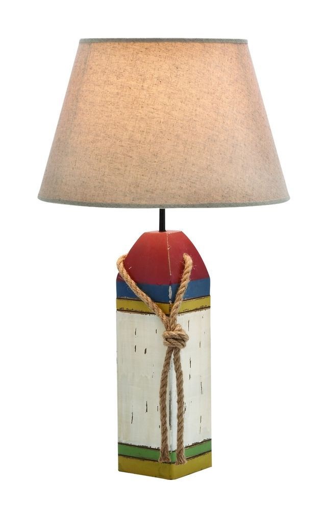 Wood Nautical Accent Lamp White Red Blue Green Yellow Beach Ocean Boat Sea  40W