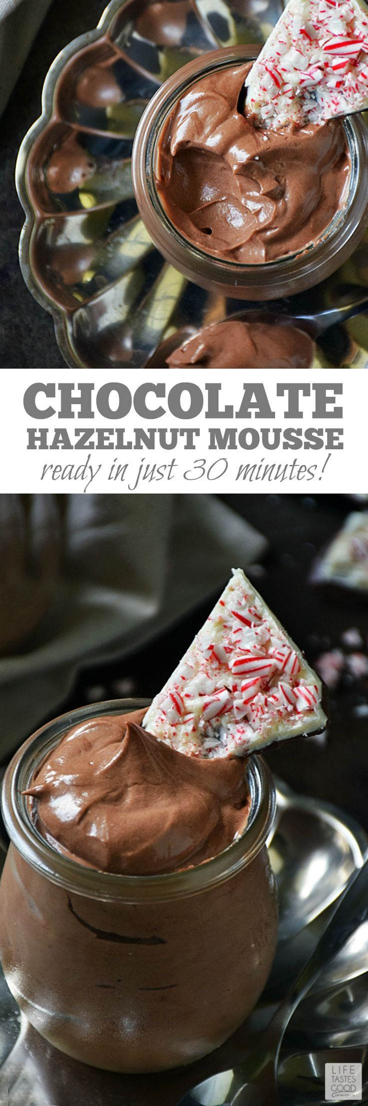 Chocolate Hazelnut Mousse | by Life Tastes Good - A rich, creamy chocolate hazelnut mousse paired with the fresh fruity flavors in a glass of Red Moscato wine is an elegant dessert I am proud to serve anytime of year, but especially during the holidays. It never fails to impress, and no one will ever know how incredibly easy it is to make! #LTGrecipes