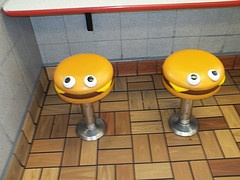 McDonald's cheeseburger stools