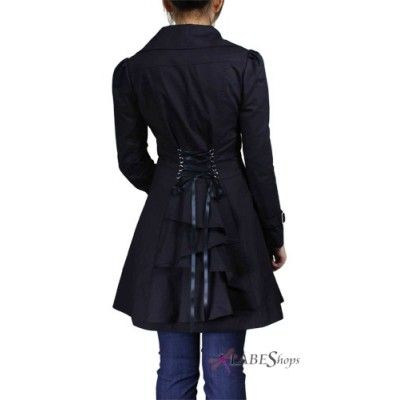 Lace Up Ruffled Black coat has corseted back with a cascade of ruffles! Super sweet! $72.50