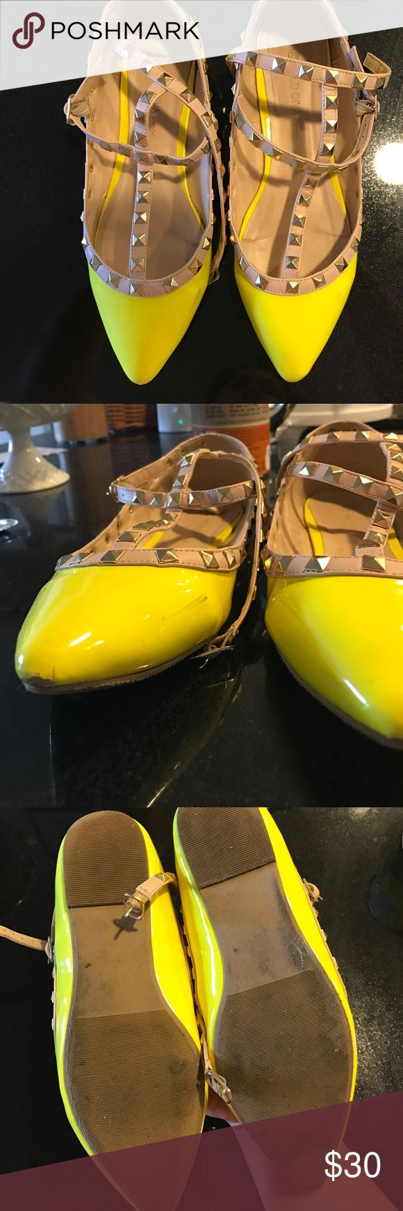Neon yellow rock stud flats Designer style with a looooot more affordable price. Shoes Flats & Loafers