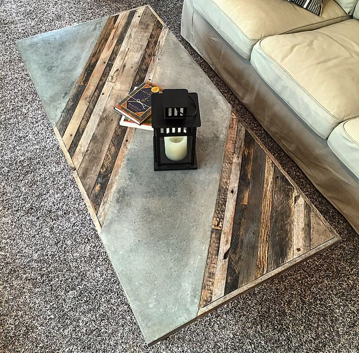 """Industrial Coffee Table -$645 This sleek table is constructed of reclaimed pallet/barn wood, Steel gas pipe and inlaid polished concrete. Will look great in any modern contemporary  living or family room. Dimensions: 26"""" Wide 56"""" Long 18"""" Tall. Size and design and can be customized."""