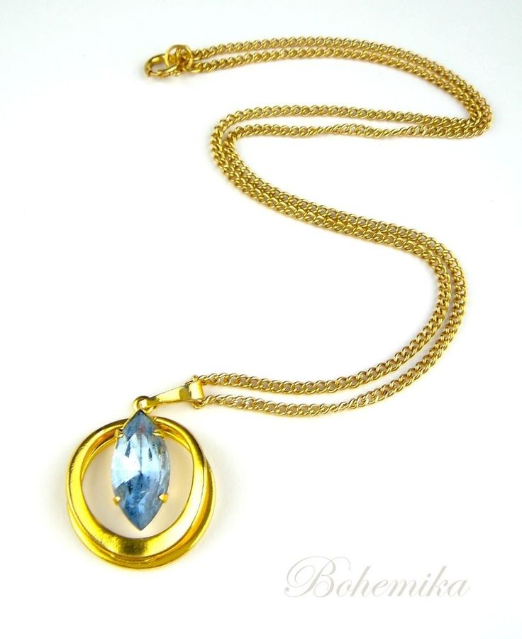Vintage Antique Czech Glass Art Deco Style Blue Pendant Necklace Gold Tone #Unbranded #Pendant