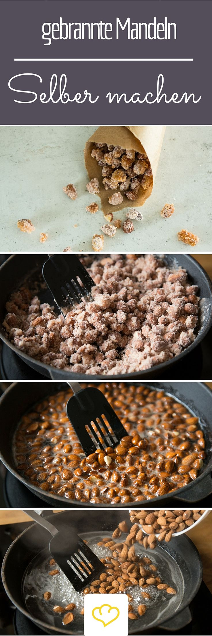 Gebrannte Mandeln selber zu machen, ist gar nicht so schwer! Dazu brauchst du auch keinen Kupfertopf, eine große Pfanne reicht! Los geht's!