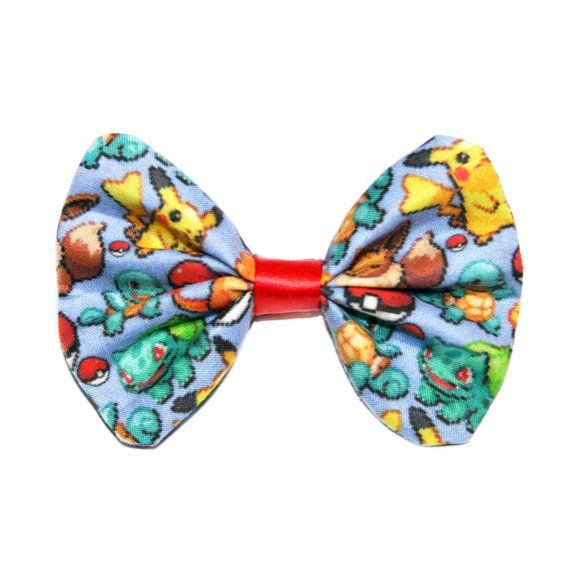 Pokemon Fabric Hair Bow Clip Pokeball Pikachu Squirtle Bulbasaur Hairbow