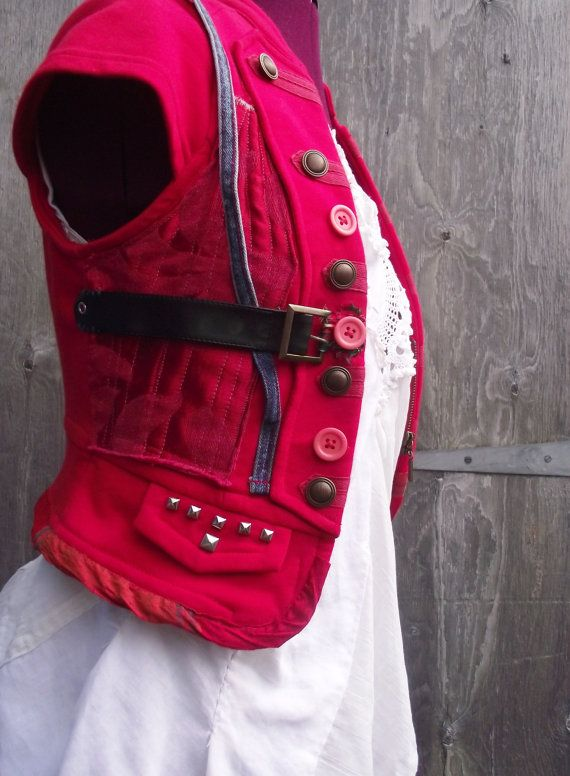 Highland Fairy customized  upcycled, recycled, steampunk, boho, one off, red WAISTCOAT on Etsy, $42.15