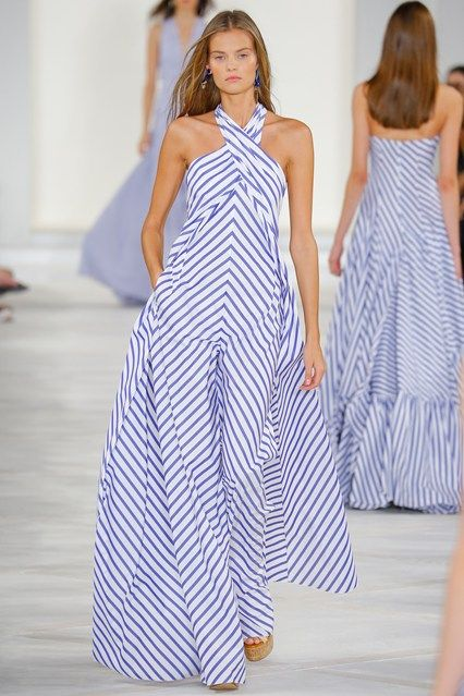 Ralph Lauren - Spring/Summer 2016 Ready-To-Wear: This look encapsulates French Riviera fashion, highlighting its roots where nautical fashion was born