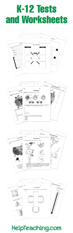 Free printable K-12 math, ELA, science, social studies, and seasonal tests/worksheets with an option to administer tests online (with auto-grading).