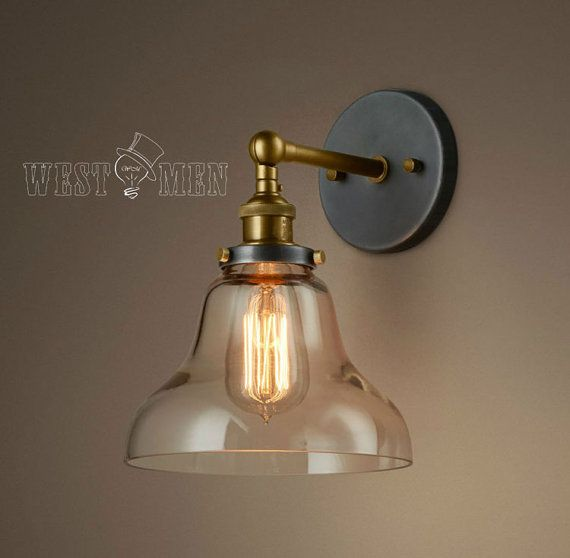 Industrial Style Glass Wall Lights : Glass Shade Vintage Industrial Wall Mount Light Rustic Wall Lamp Wall Sconce Edison Lighting ...