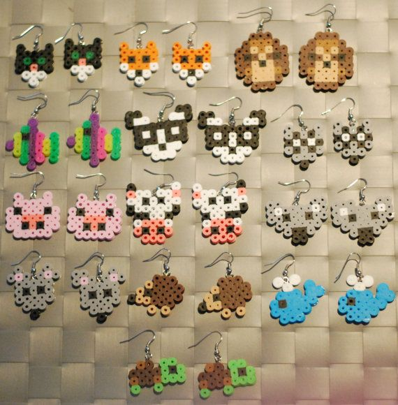 Animal Perler Earrings or Keychain Cat Fox by merkittenjewelry, $3.00
