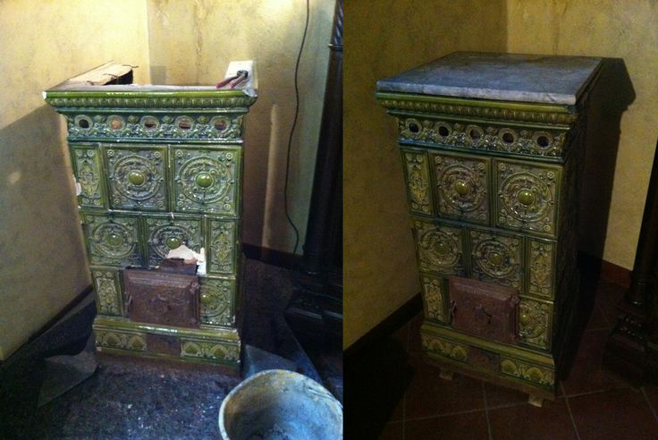 Piccola stufa in maiolica di provenienza ignota (forse austriaca?) di circa 50/60 anni. Posata su piedini di legno con interno in ghisa e la...