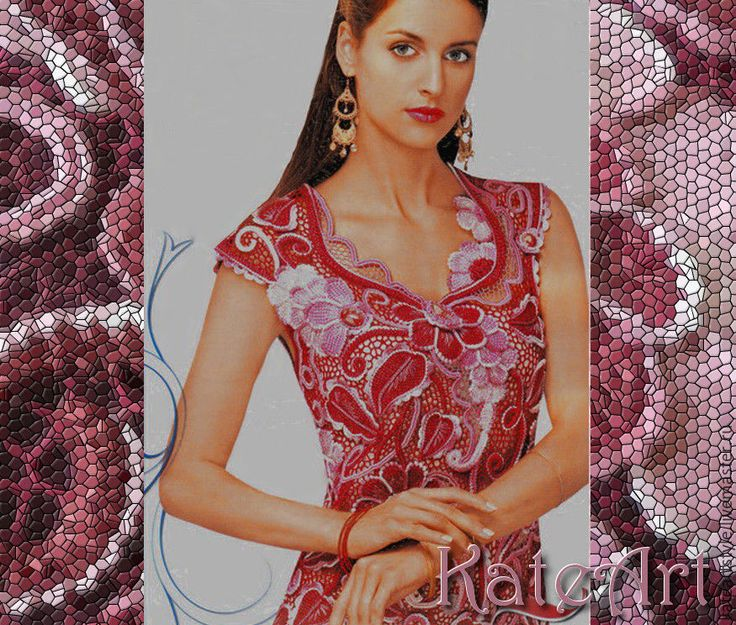"""Купить Платье вязаное крючком в технике ирландского кружева """"Эспаньола"""" - бордовый, цветочный, Платье нарядное"""