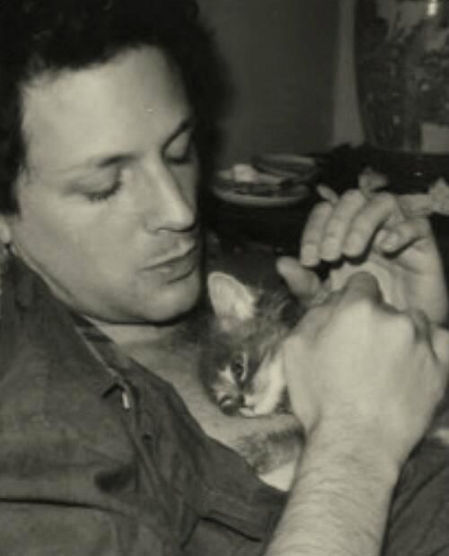 Lindsey Buckingham (don't know who is cuter... him or the kitten)
